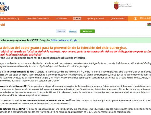 Evidencias: uso del doble guante para la prevención de la infección del sitio quirúrgico