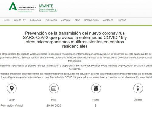 Nueva edición del curso online «Prevención de la transmisión del nuevo coronavirus SARS-CoV-2 que provoca la enfermedad COVID 19 y otros microorganismos multirresistentes en centros residenciales»